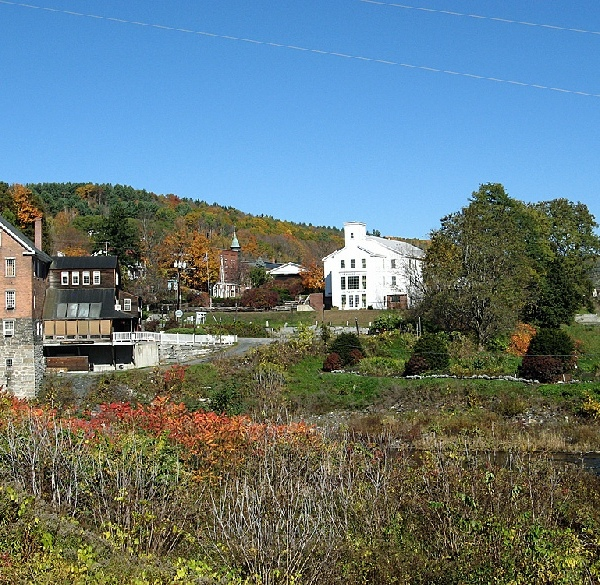 Buildings along main street and the bridge in Bradford, Vermont